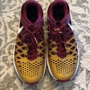 Nike Train and Speed Gold and Garnet FSU sneakers